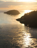 Sunset at Deception Pass. Sunset from bridge at Deception Pass State Park Washington royalty free stock photography