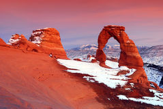 Sunset at Delicate Arch Royalty Free Stock Images