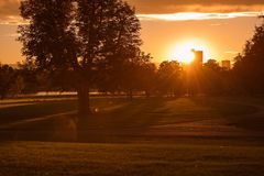 Sunset in Denver City Park Royalty Free Stock Photos