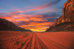 Sunset in desert. Scenic sunset in Wadi Rum desert, Jordan Stock Photo