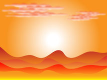 Sunset in desert. With clouds and dunes Royalty Free Stock Photos