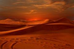 Sunset desert. Desert sunset. Desert dunes in Dubai Stock Photos