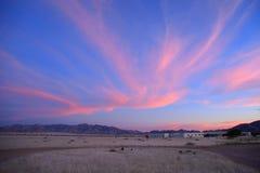 Sunset in the desert. Sunset near Sossusvlei in the Namib desert Stock Photo