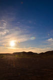 Sunset in the Desert. The Amazing Colors of Sunset in the Desert at Coober Pedy Australia Stock Photos