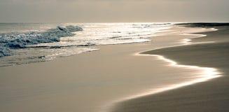 Sunset on desert beach Stock Image