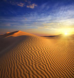 Sunset in desert Stock Images