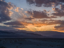 Sunset in the Desert. Death Valley, California. Sunset, rays of light Royalty Free Stock Photo