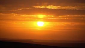 Sunset in the desert orange sky