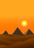 Sunset desert and pyramid Royalty Free Stock Images