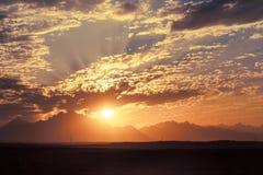 Sunset in Desert - Sahara Mountains Royalty Free Stock Photos