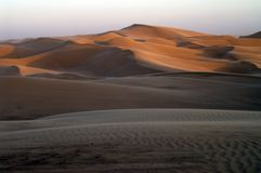 sunset at desert sand dune   Royalty Free Stock Image