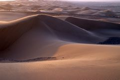 Sunset on desert sand dunes Stock Photos