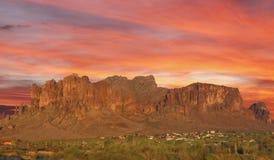 Sunset in desert. Sun set over mountain in the desert Phoenix, Arizona, USA Stock Image