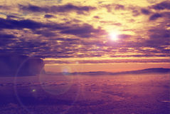 Sunset in the desert Royalty Free Stock Photo