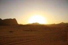 Sunset in desert. In Wadi Rum, Jordan royalty free stock image