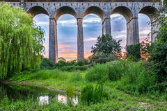 Sunset at Digswell Viaduct in the UK Royalty Free Stock Image