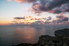 Sunset on dingli cliffs. Dingli cliffs on Malta island at sunset Stock Photos