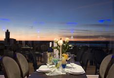 Sunset dinner table setting Stock Photography