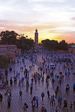 Sunset at Djemaa el Fna market in Marrakesh, Morocco, with Koutu Royalty Free Stock Image