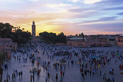 Sunset at Djemaa el Fna market in Marrakesh, Morocco Royalty Free Stock Images