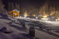 Night in a mountain village. Winter 2014, Ukraine, Chernivtsi region Royalty Free Stock Images