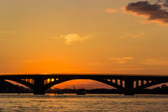 Sunset on the Dnieper Stock Photography