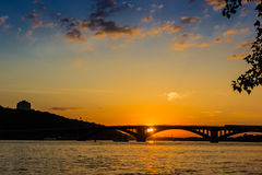 Sunset on the Dnieper Royalty Free Stock Photo