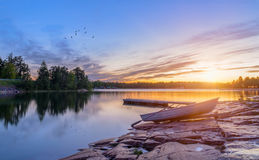 Sunset on the dock of the Baltic Sea Stock Photography