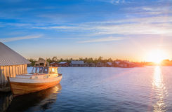 Sunset on the dock of the Baltic Sea Royalty Free Stock Image