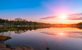 Sunset on the dock of the Baltic Sea Royalty Free Stock Images