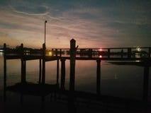 Sunset on dock royalty free stock photo