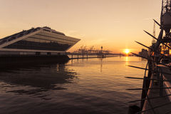 Sunset at the Dockland Stock Photo