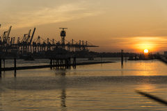 Sunset at the Dockland Royalty Free Stock Photos