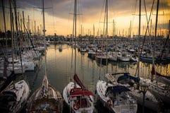 Sunset in docks Royalty Free Stock Photo