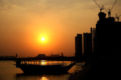 Sunset in Doha, Qatar Stock Images