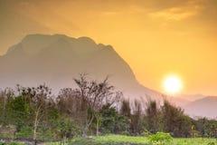 Sunset at Doi Luang Chiang Dao, Chiang Mai as background.  Royalty Free Stock Photo