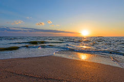 Sunset on doljanskaya spit in Russia. Stock Images