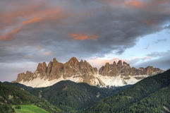 Sunset, Dolomite Mountains in Italy Stock Images