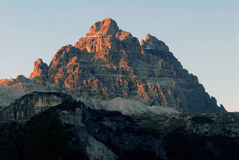 Sunset on Dolomite peaks Stock Images
