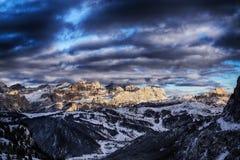 Sunset on the dolomites mountain Stock Photography