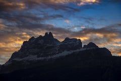 Sunset in Dolomites mountains around Cortina D Ampezzo Royalty Free Stock Photo