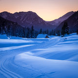 Sunset in Dolomites mountains, Italy Royalty Free Stock Images
