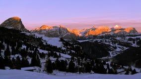 Sunset on the dolomites skyline Royalty Free Stock Image