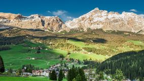 Sunset in dolomites of the small village, Italy, timelapse stock video footage