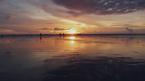 Sunset in Double Six Beach, Bali royalty free stock image