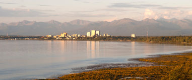 Sunset Downtown City Skyline Anchorage Alaska North America USA Royalty Free Stock Image