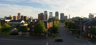 Sunset Downtown City Skyline Birmingham Alabama Carraway Blvd. The shadows are long early evening in Birmingham in this urban panoramic Stock Photos