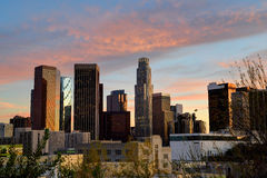 Sunset downtown Los Angeles Royalty Free Stock Image