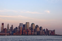 Sunset on Downtown Manhattan Royalty Free Stock Photography