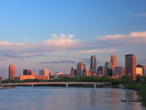 Sunset in downtown Minneapolis with Mississippi Royalty Free Stock Photo